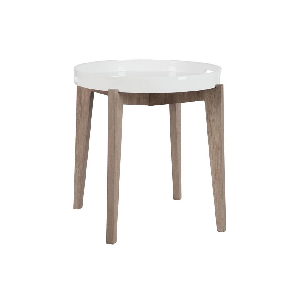 Sellette ronde bois naturel et blanc - Univers Petits Meubles : Tousmesmeubles