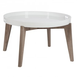 Table basse ronde bois naturel et blanc - Univers Salon : Tousmesmeubles