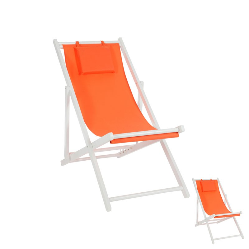 Duo de chiliennes pliantes Orange GIPSY L 58 x l 105 x H 94