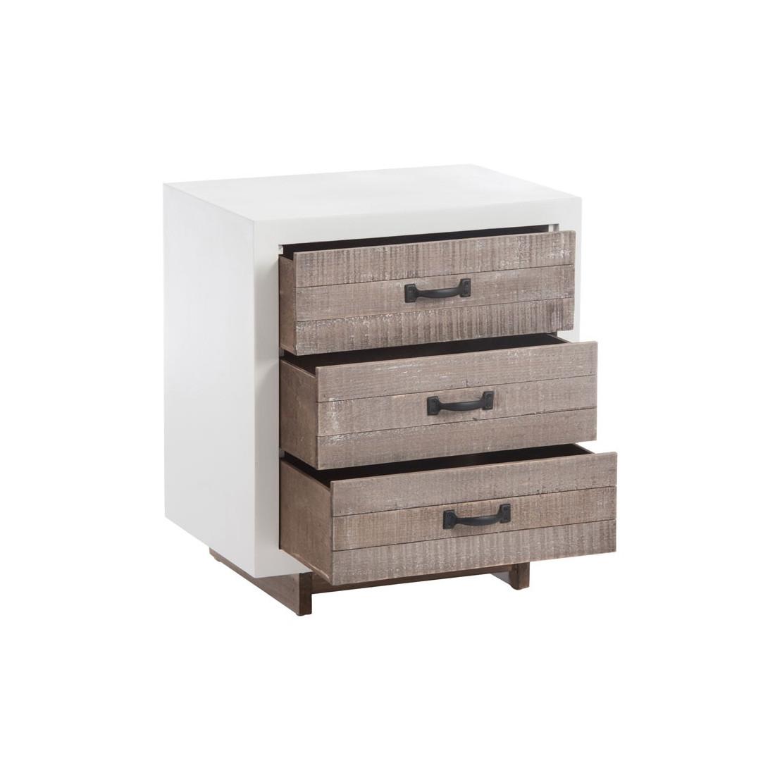 table de chevet 3 tiroirs bois blanc canon univers chambre. Black Bedroom Furniture Sets. Home Design Ideas
