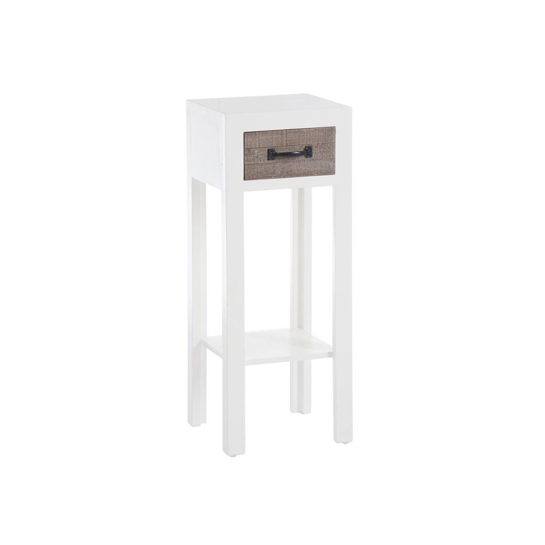 Sellette 1 tiroir bois blanc et naturel canon univers for Petit meuble blanc a tiroir