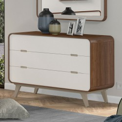Commode 3 tiroirs noyer et laque blanche FIFTY - Univers Chambre : Tousmesmeubles