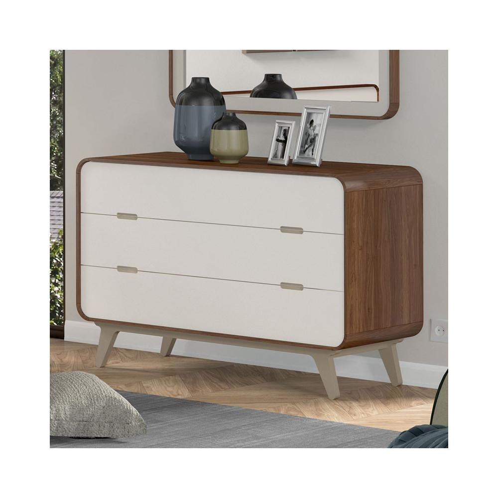 Commode 3 tiroirs noyer et laque blanche FIFTY - Univers Chambre : Tousmesmeubles