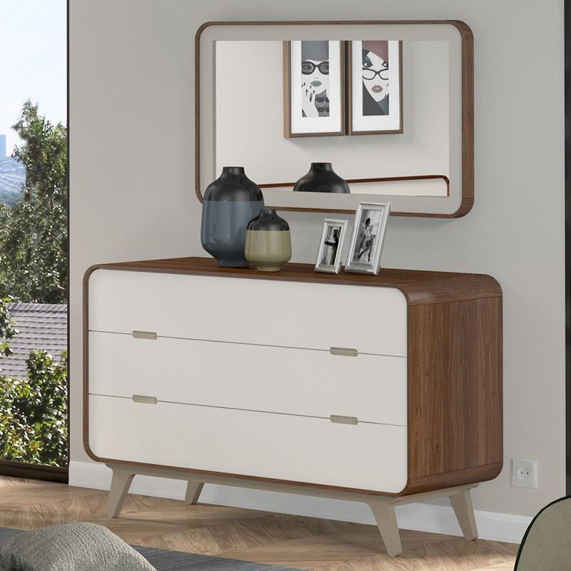 Commode 3 tiroirs + miroir noyer et laque blanche FIFTY - Univers Chambre : Tousmesmeubles