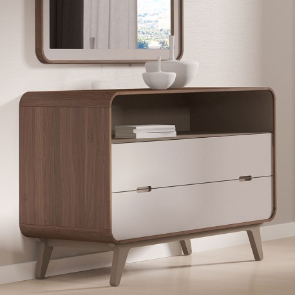 Commode 2 tiroirs 1 niche noyer et laque blanche FIFTY - Univers Chambre : Tousmesmeubles