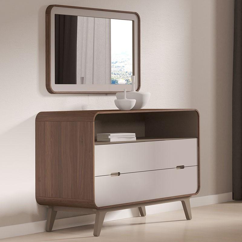 Commode 2 tiroirs 1 niche + miroir noyer et laque blanche FIFTY - Univers Chambre : Tousmesmeubles