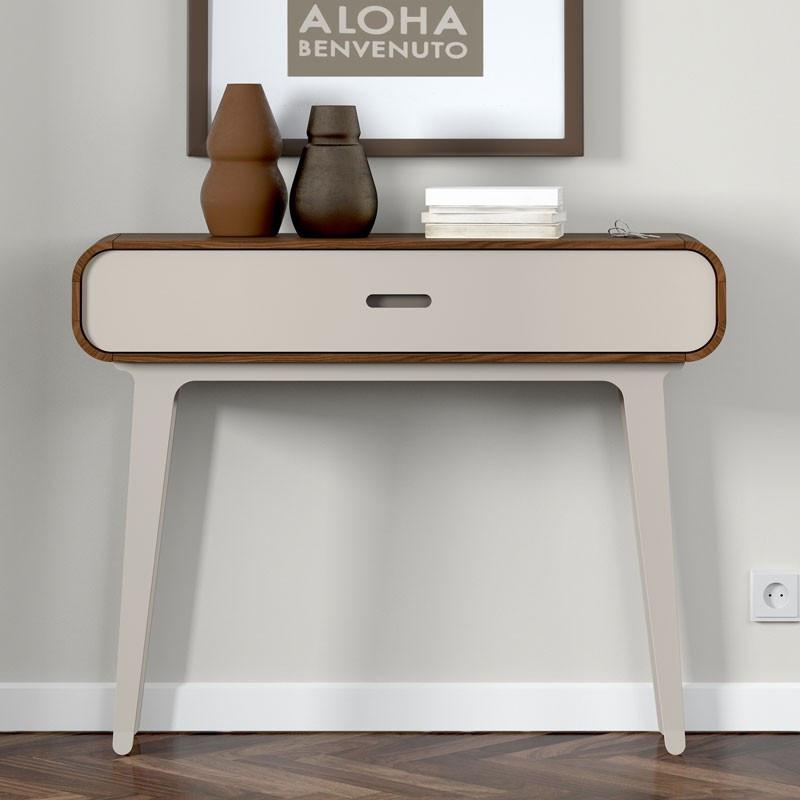 Console 1 tiroir noyer et laque blanche FIFTY - Univers Chambre : Tousmesmeubles