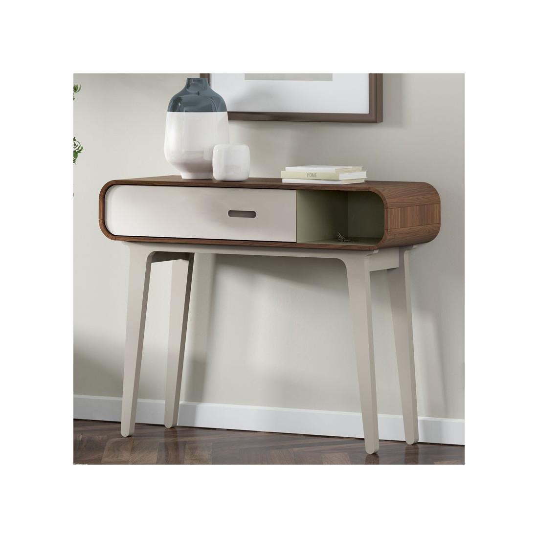 console 1 tiroir 1 niche vintag noyer fifty univers petits meubles. Black Bedroom Furniture Sets. Home Design Ideas