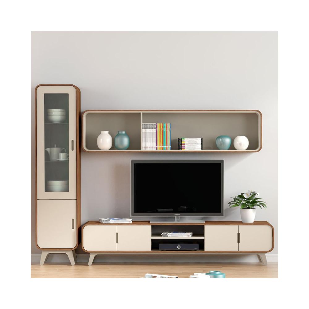 Composition TV noyer et laque blanche FIFTY - Univers Salon : Tousmesmeubles