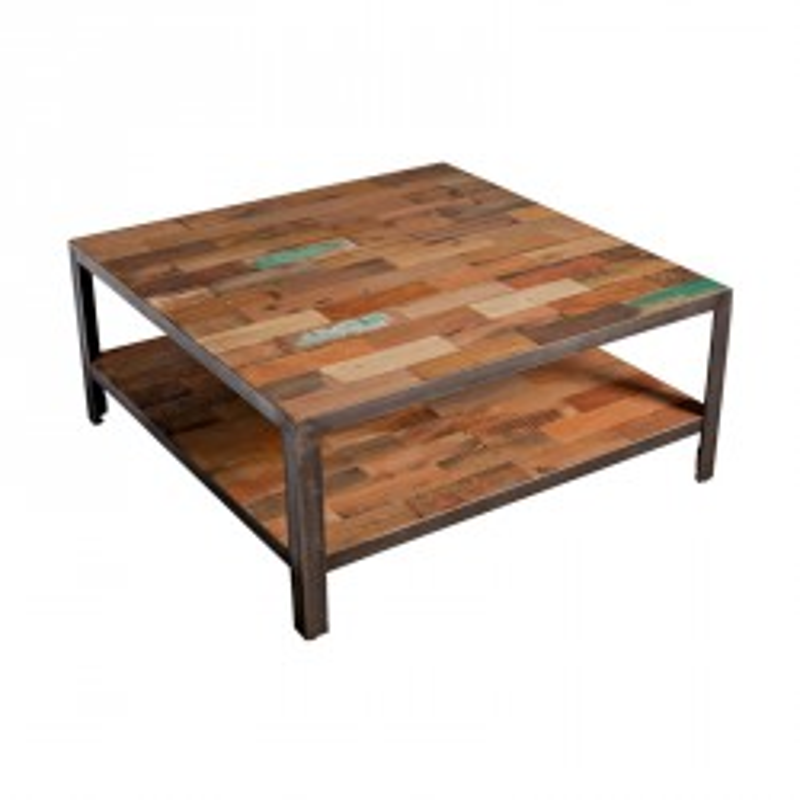 Table basse carrée double plateau bois recyclé et métal industriel - Univers Salon : Tousmesmeubles