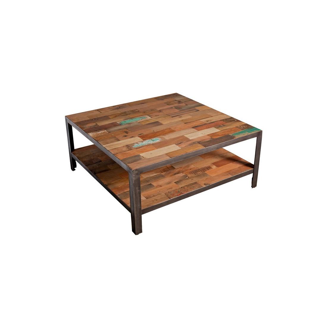 Table basse carr e double plateau industriel fabrik univers salon - Table carree style industriel ...