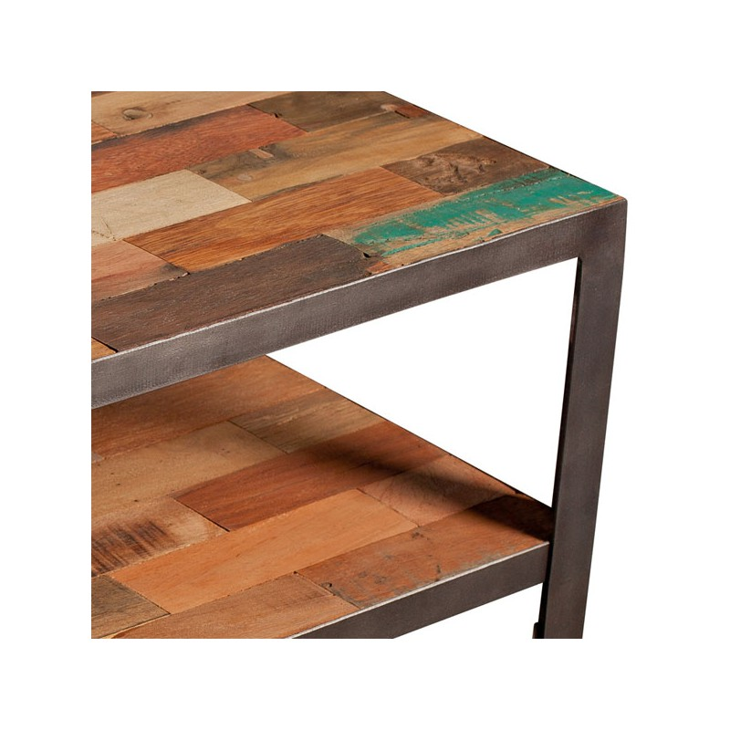 Table basse carr e double plateau industriel fabrik - Table basse carree bois exotique ...