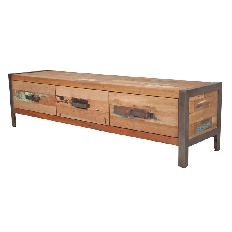 Meuble TV 3 tiroirs industriel bois recyclé et métal - Univers Salon : Tousmesmeubles