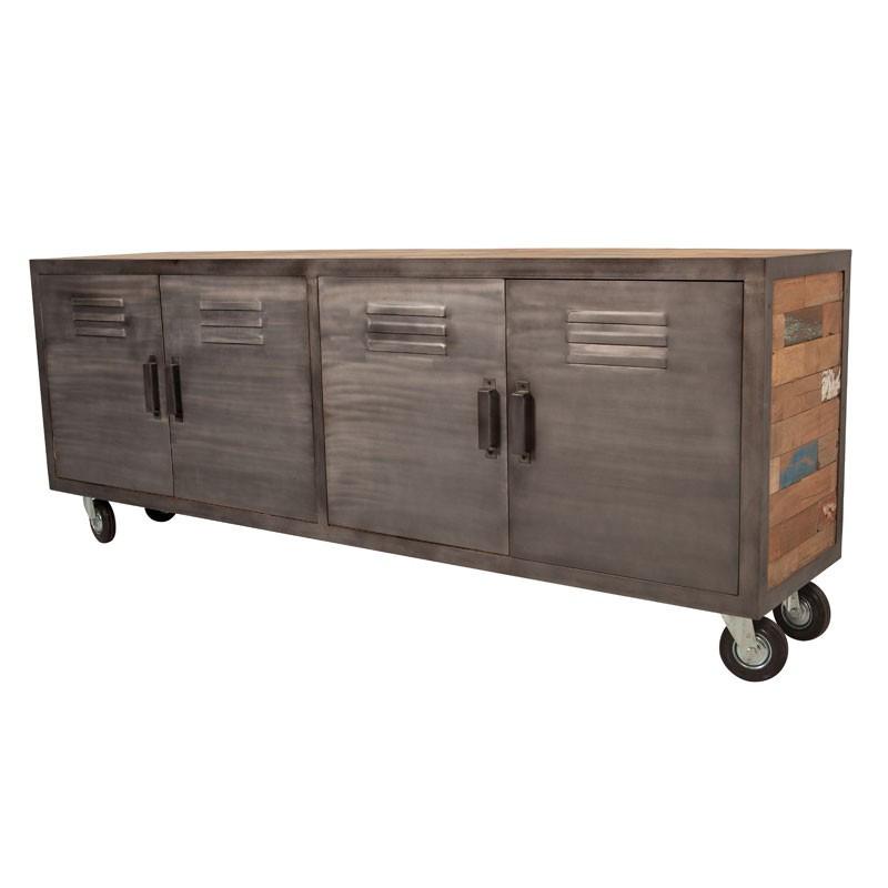 Meuble TV 4 portes sur roulettes industriel bois recyclé et métal - Univers Salon : Tousmesmeubles