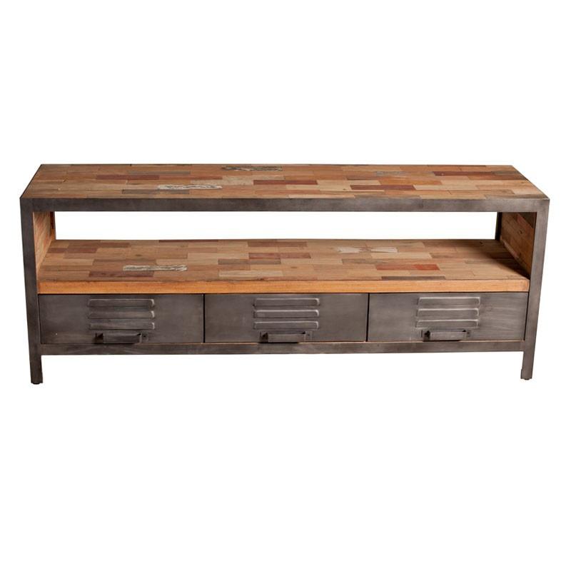 Meuble TV 3 tiroirs 1 niche industriel bois recyclé et métal - Univers Salon : Tousmesmeubles