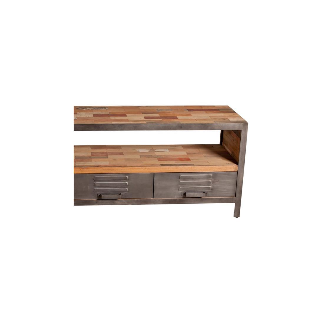 meuble tv 3 tiroirs 1 niche industriel bois fabrik univers salon. Black Bedroom Furniture Sets. Home Design Ideas