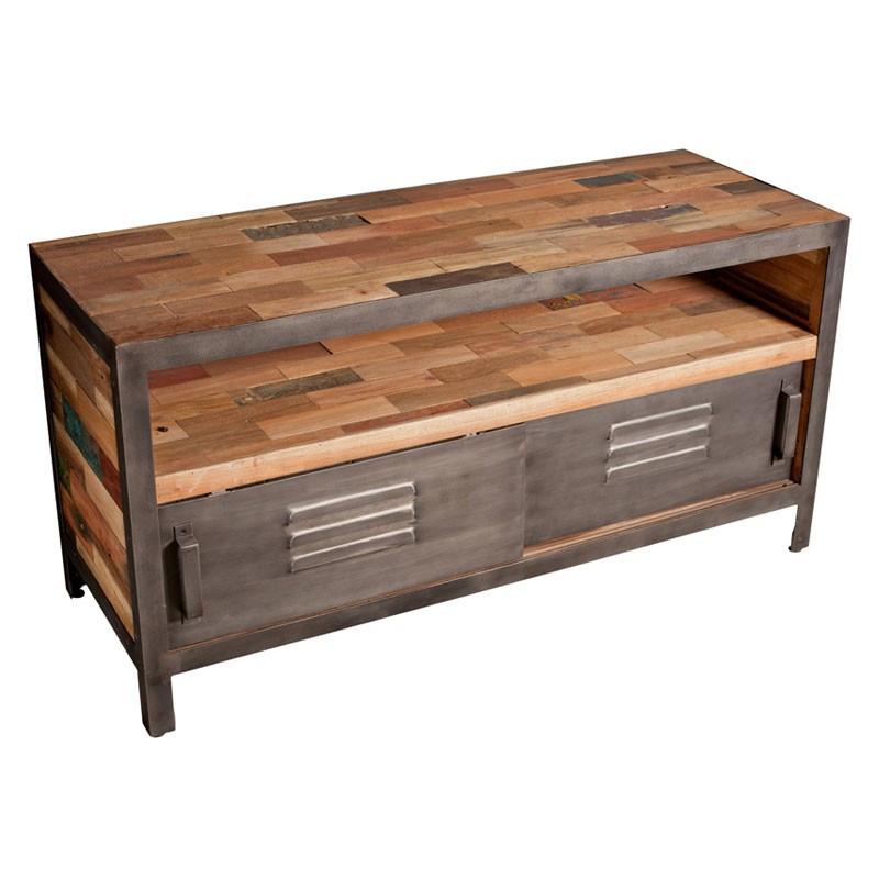 Meuble TV 120 cm 2 portes coulissantes 1 niche industriel bois recyclé et métal - Univers Salon : Tousmesmeubles