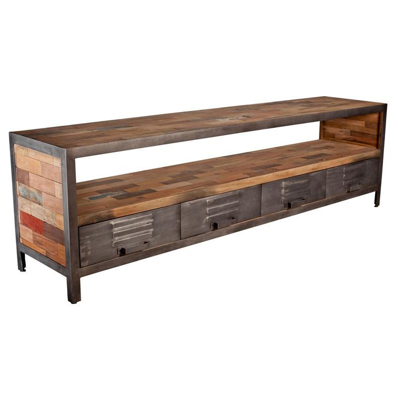 Meuble TV 4 tiroirs 1 niche industriel bois recyclé et métal - Univers Salon : Tousmesmeubles