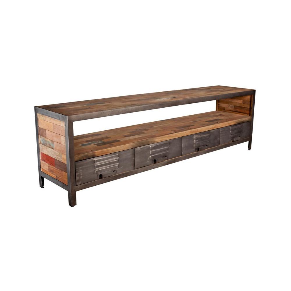 meuble tv 4 tiroirs 1 niche industriel bois fer fabrik univers salon. Black Bedroom Furniture Sets. Home Design Ideas