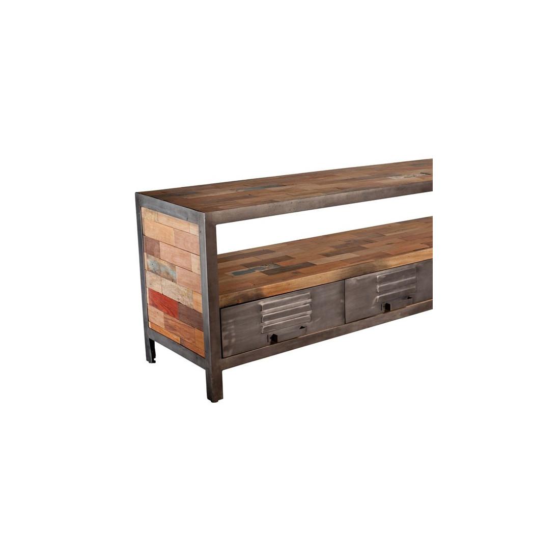Meuble tv 4 tiroirs 1 niche industriel bois fer fabrik for Meuble 4 tiroirs