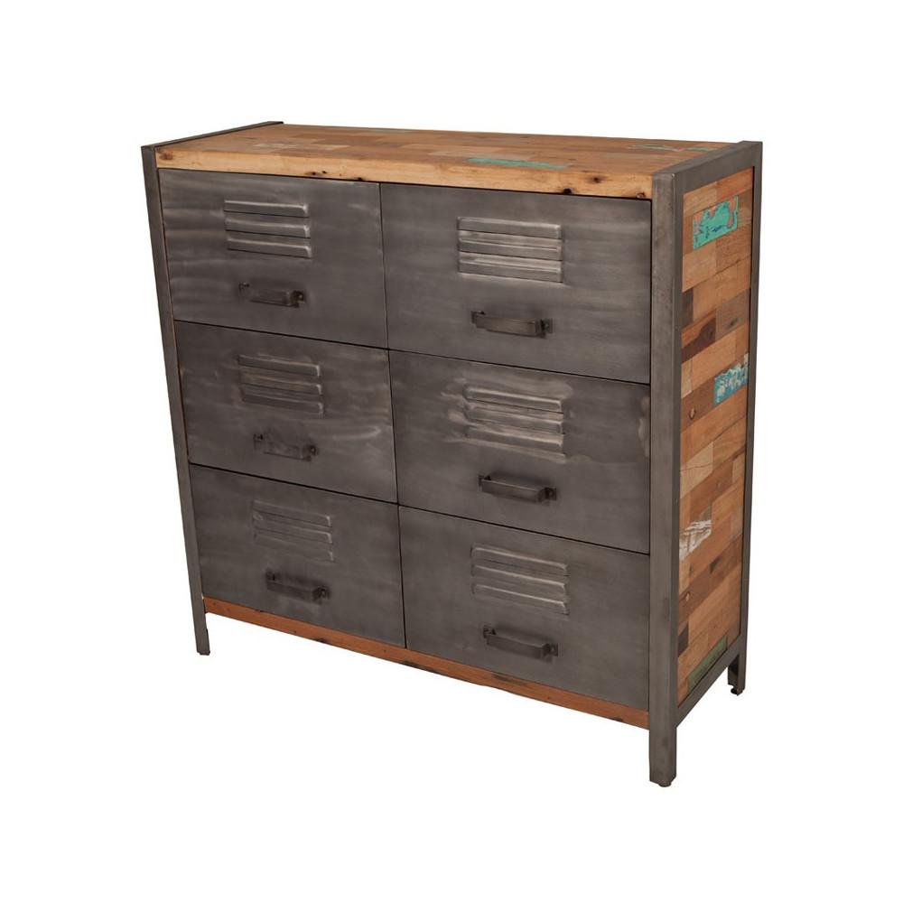 Buffet 6 tiroirs industriel bois recyclé et métal - Univers Salle à Manger et Petits Meubles : Tousmesmeubles
