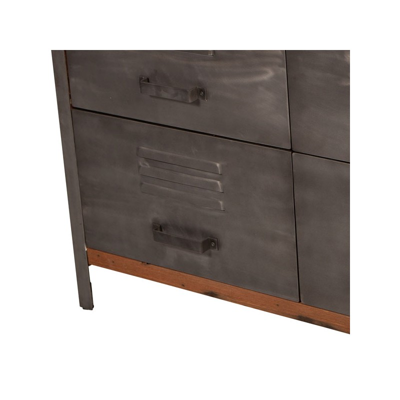 buffet 6 tiroirs industriel bois fer fabrik univers salle manger. Black Bedroom Furniture Sets. Home Design Ideas