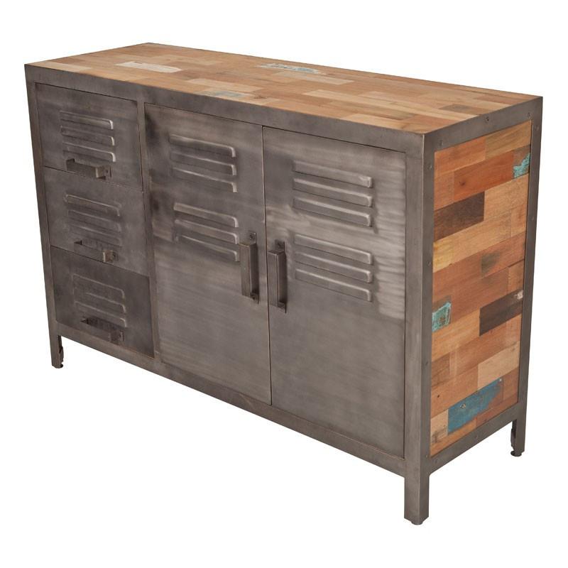 Buffet 2 portes 3 tiroirs industriel bois recyclé et métal - Univers Salle à Manger : Tousmesmeubles