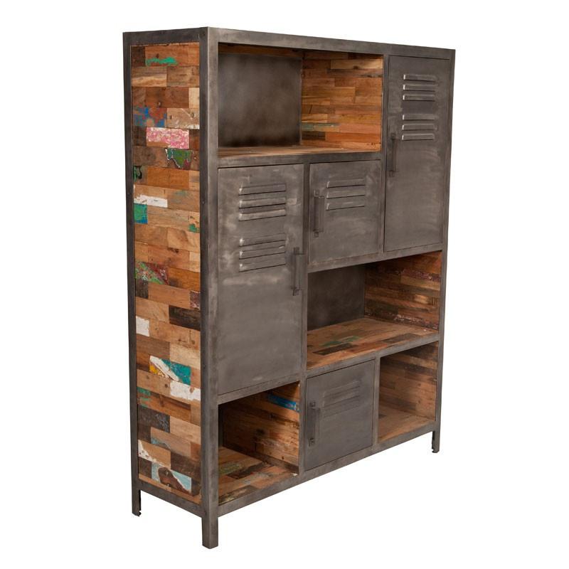 Bibliothèque 4 portes 4 niches industriel bois recyclé et métal - Univers Salon et Bureau : Tousmesmeubles