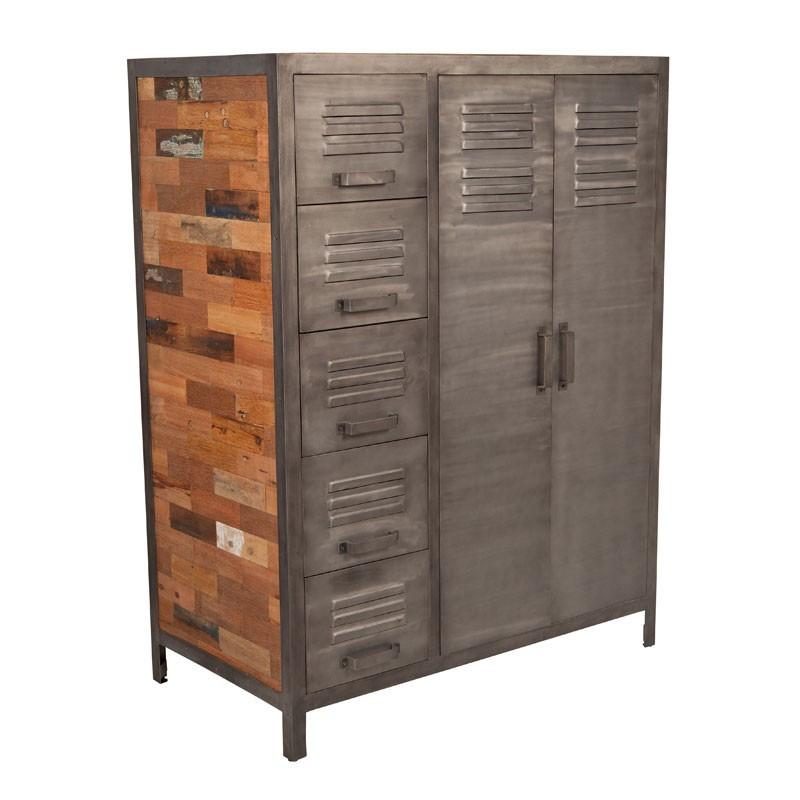 Armoirette 2 portes 5 tiroirs industriel bois recyclé et métal - Univers Petits Meubles : Tousmesmeubles