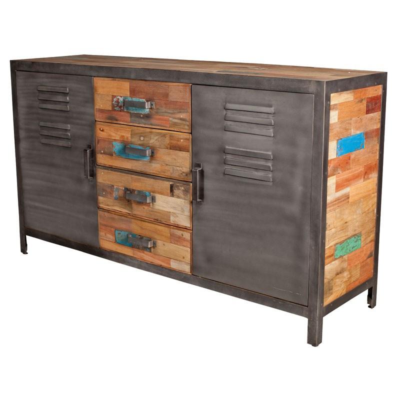 Buffet 2 portes 4 tiroirs industriel bois recyclé et métal - Univers Salle à Manger : Tousmesmeubles