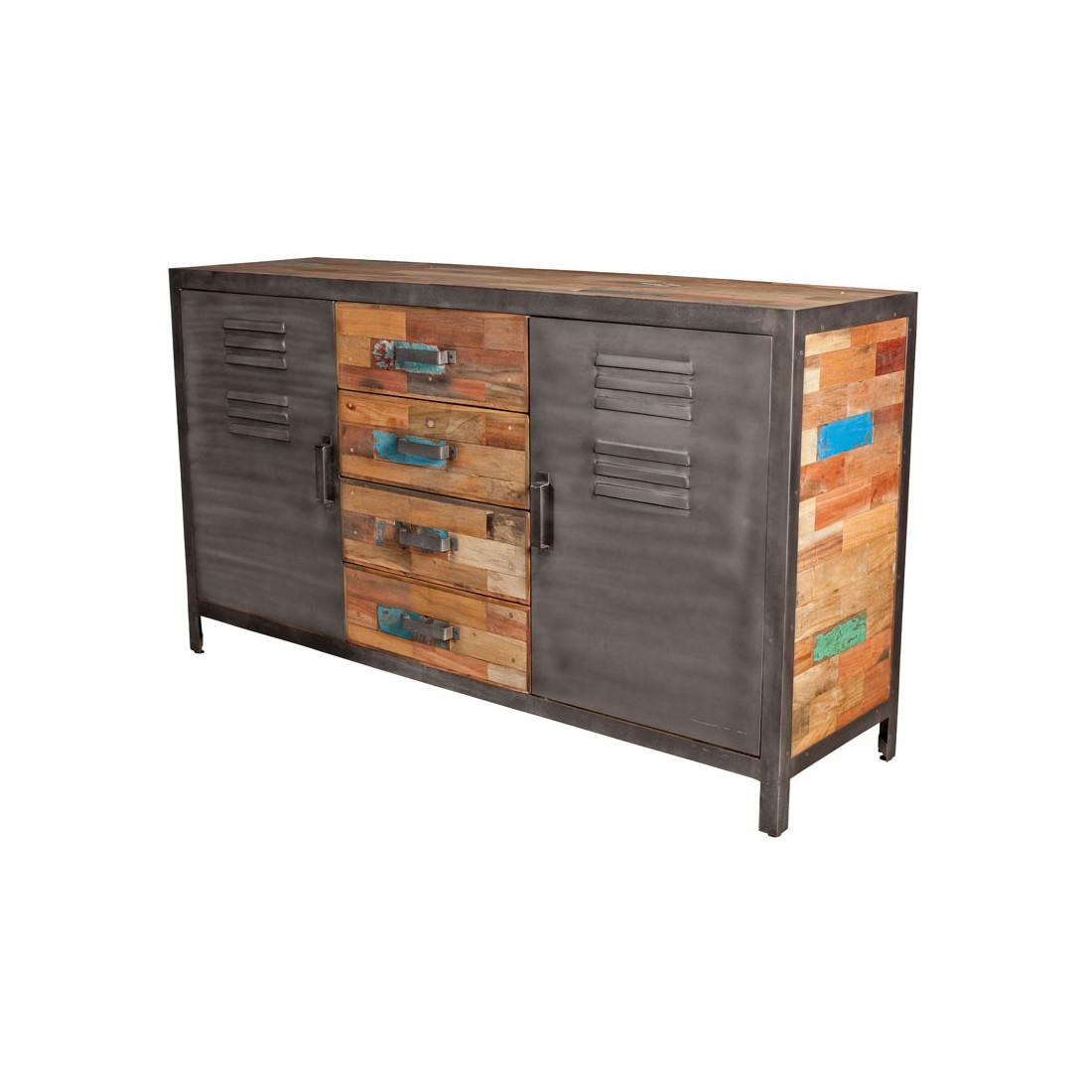 buffet 2 portes 4 tiroirs bois fer fabrik n 1 univers salle manger. Black Bedroom Furniture Sets. Home Design Ideas