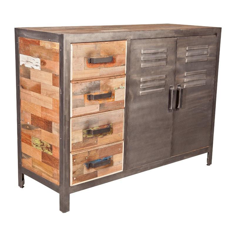 Buffet 2 portes 4 tiroirs n°2 industriel bois recyclé et métal - Univers Salle à Manger : Tousmesmeubles
