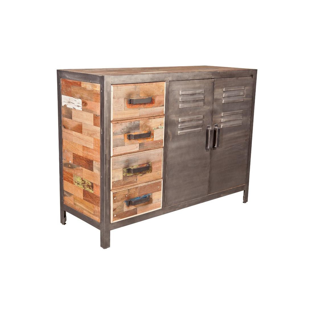 Buffet 2 portes 4 tiroirs bois fer fabrik n 2 univers salle manger - Buffet 2 portes 2 tiroirs ...
