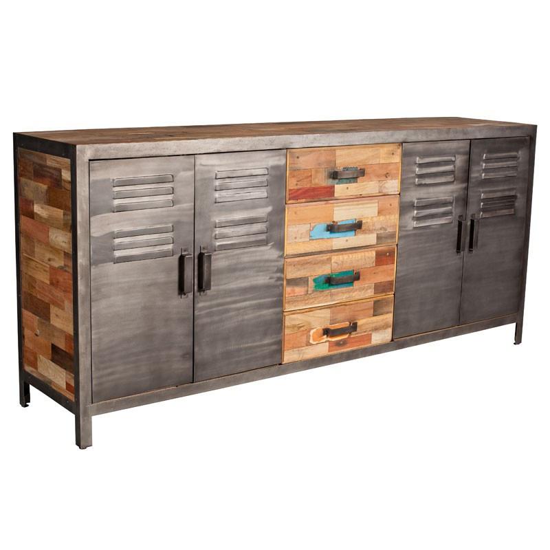 Buffet 4 portes 4 tiroirs industriel bois recyclé et métal - Univers Salle à Manger : Tousmesmeubles