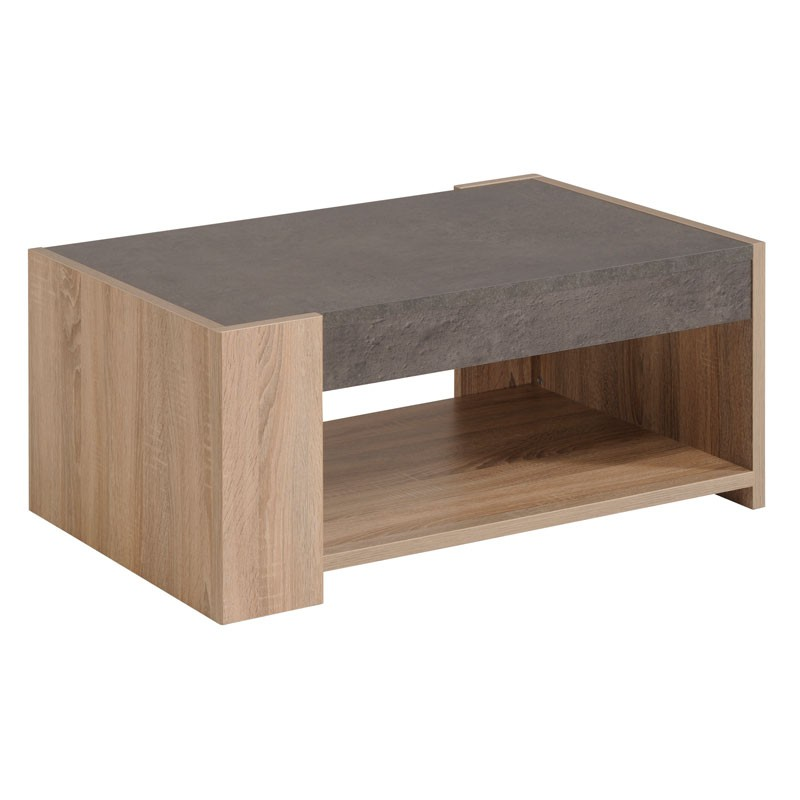 Table basse b ton cir gris bois ch ne brut stone - Table de salon en beton cire ...