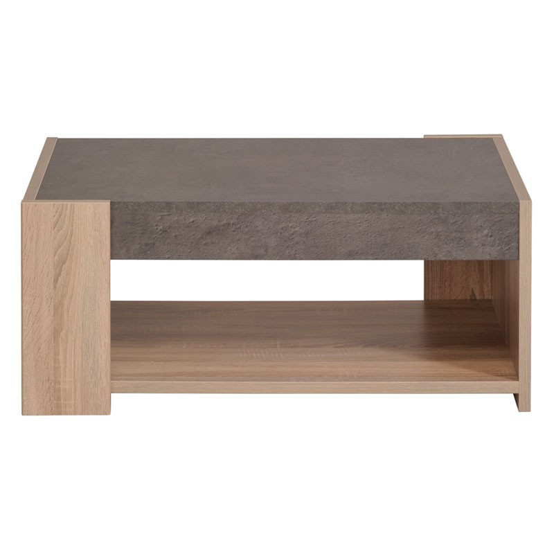 Table basse bois beton cir for Table salon bois brut