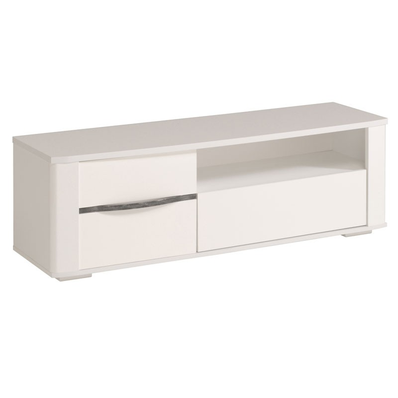 Meuble tv bois laqu blanc contemporain shiny univers salon - Meuble blanc laque brillant ...