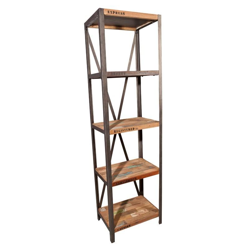Bibliothèque 5 plateaux industriel bois recyclé métal FABRIK - Univers Salon et Bureau : Tousmesmeubles