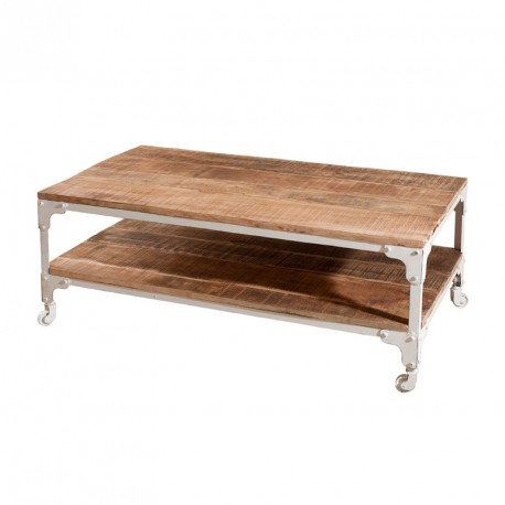 table basse industrielle bois mtal blanc univers salon tousmesmeubles - Table Basse A Roulettes