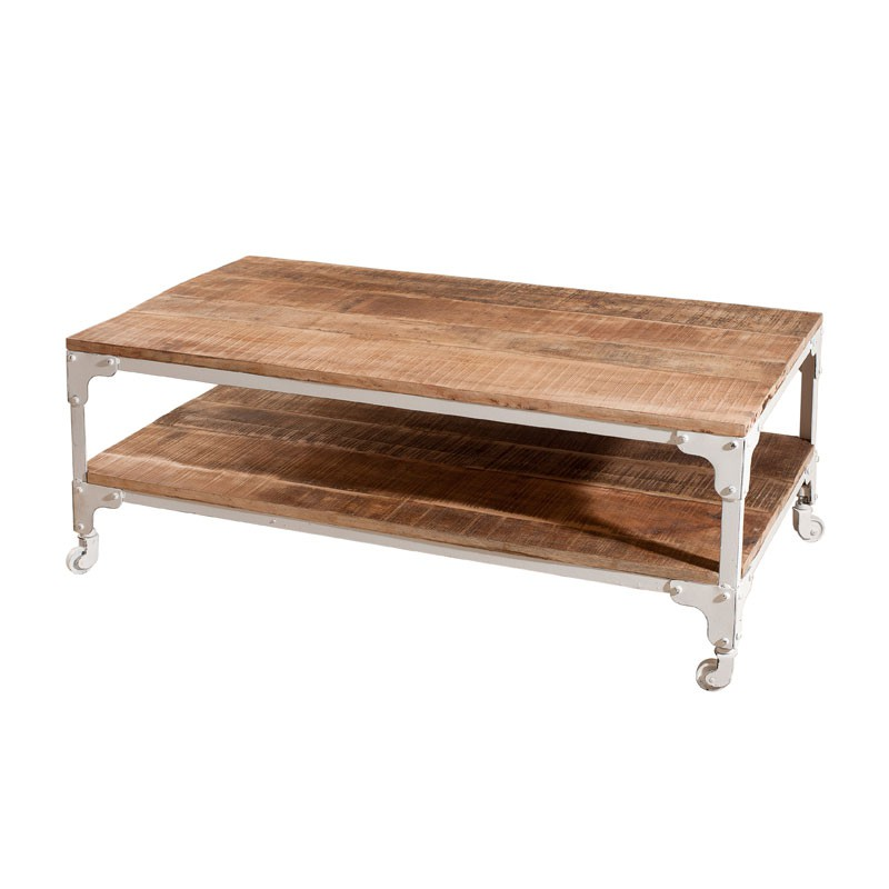 Table basse sur roulettes bois fer blanc westwood for Table basse roulette industrielle