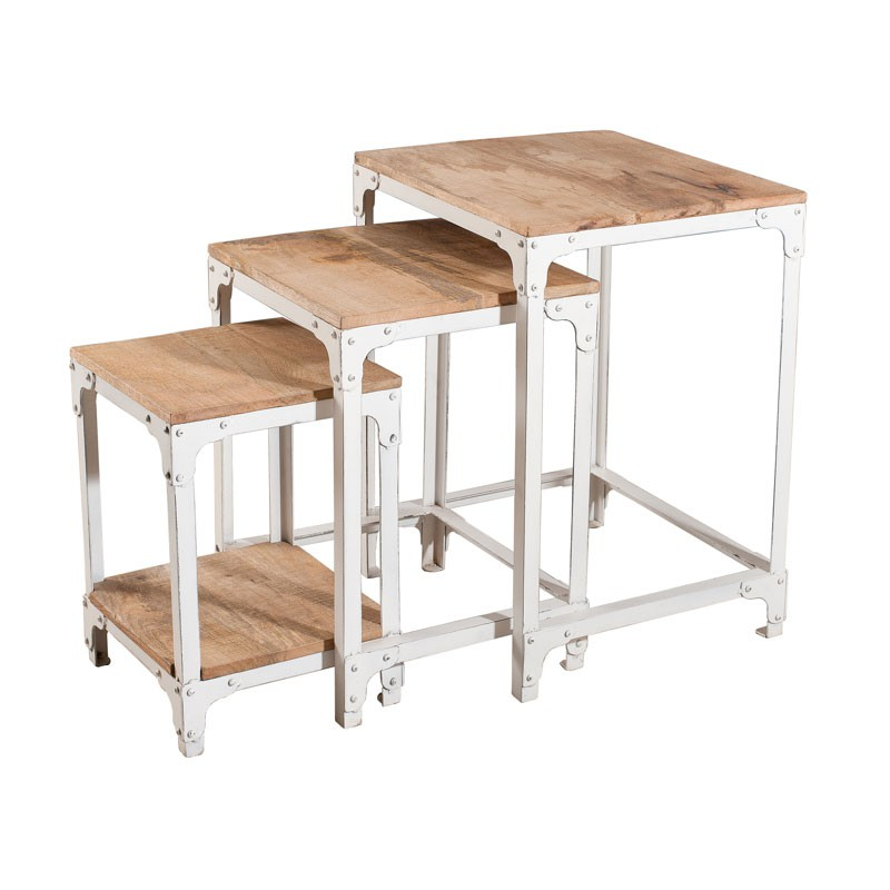 Tables gigognes bois fer blanc westwood tousmesmeubles for Table gigogne bois