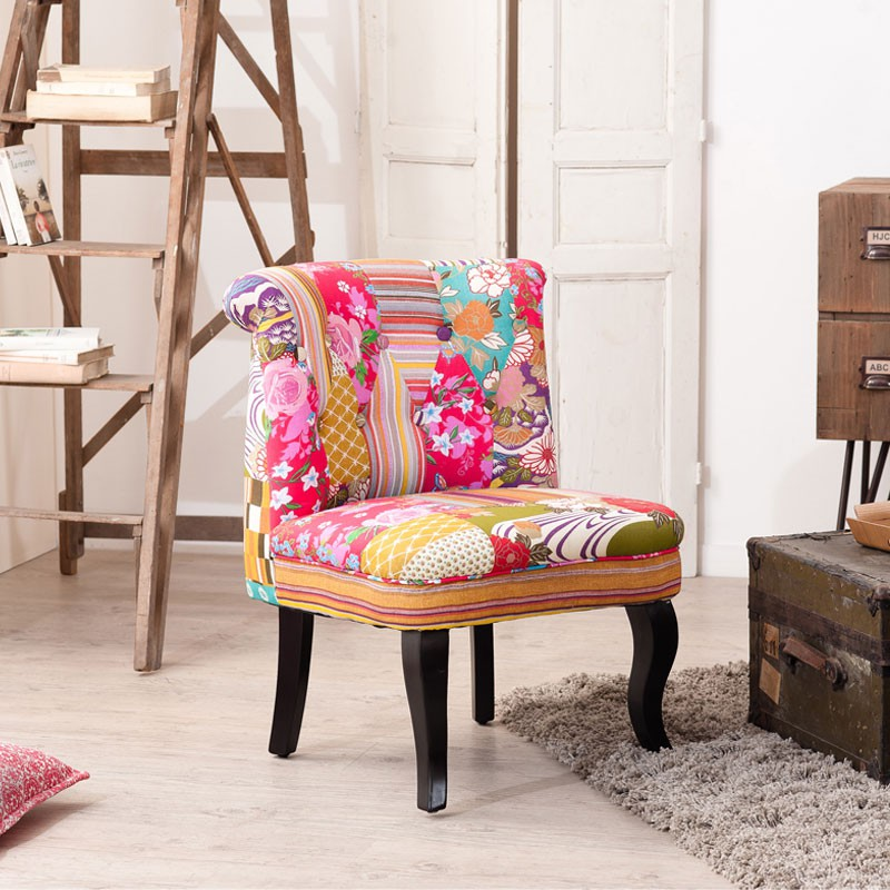 fauteuil crapaud patchwork coton cathy univers salon et assises. Black Bedroom Furniture Sets. Home Design Ideas