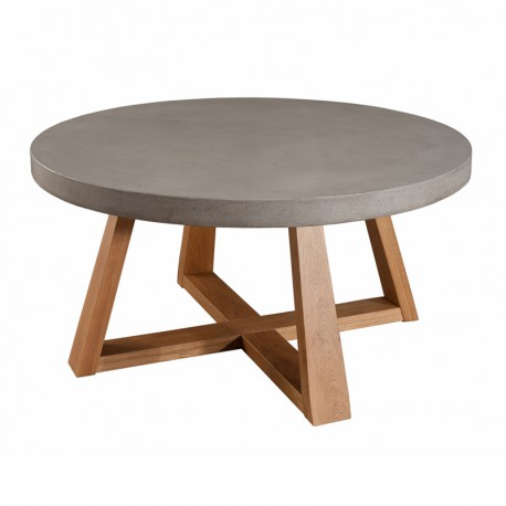 Table basse ronde bois ch ne b ton cir cast univers salon - Table basse ronde bois ...