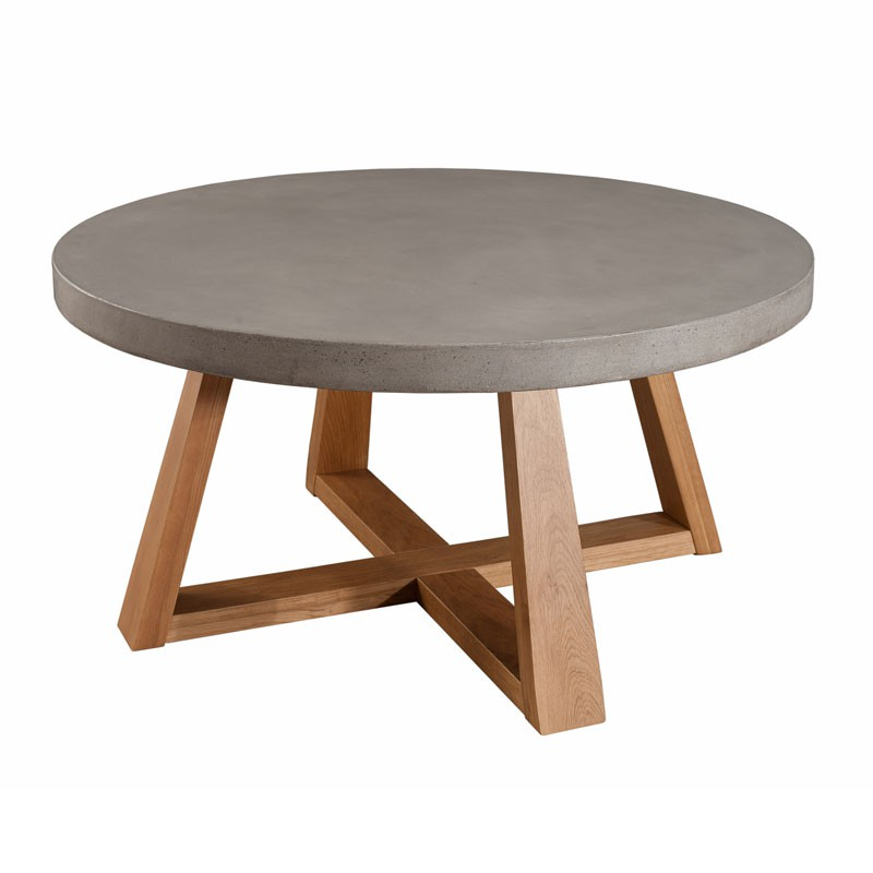 Table basse ronde bois ch ne b ton cir cast univers salon - Table de salon ronde en bois ...