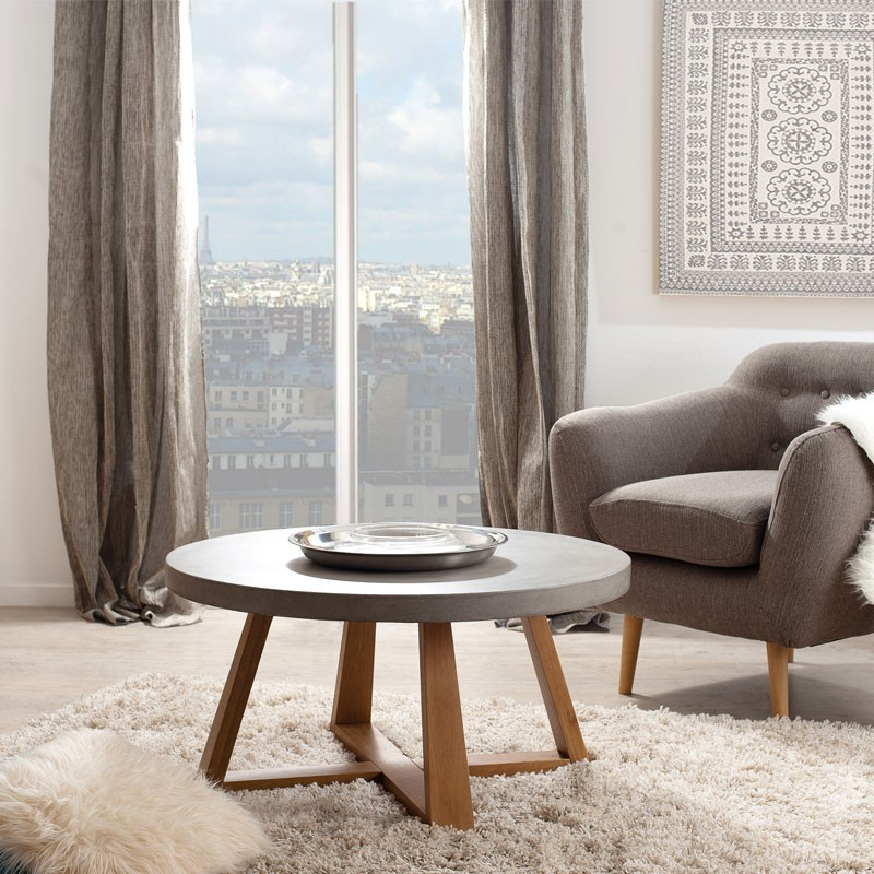 table basse ronde bois ch ne b ton cir cast univers salon. Black Bedroom Furniture Sets. Home Design Ideas