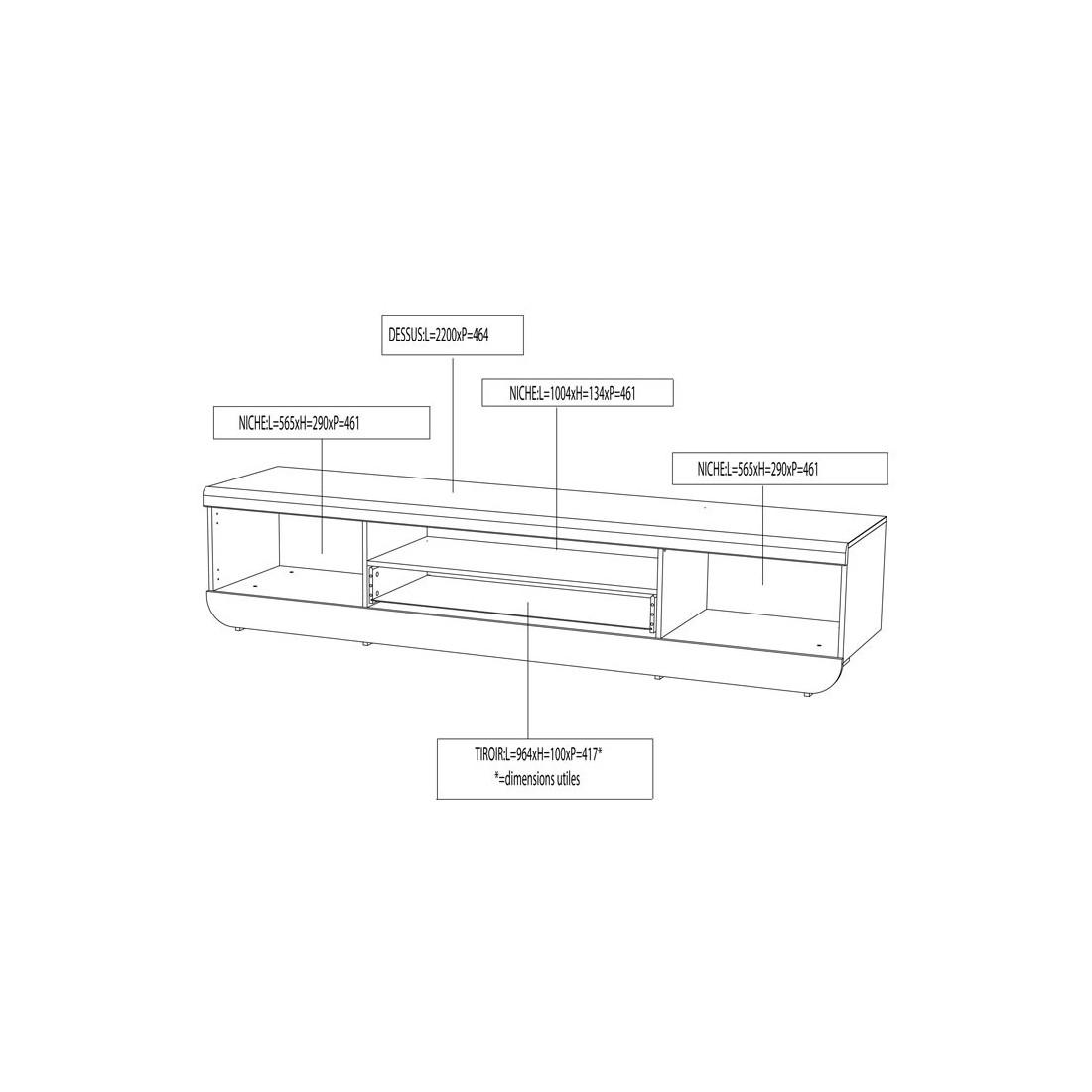 Meuble tv 2 portes 1 tiroir leds blanc fily univers salon for Dimension meuble tv
