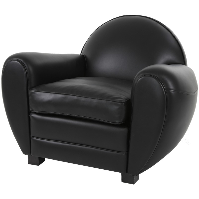 fauteuil club cuir noir brillant cheshire univers du salon. Black Bedroom Furniture Sets. Home Design Ideas