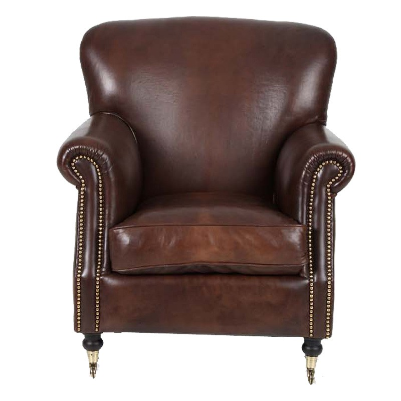 fauteuil club cuir marron fonc hampshire univers du salon. Black Bedroom Furniture Sets. Home Design Ideas