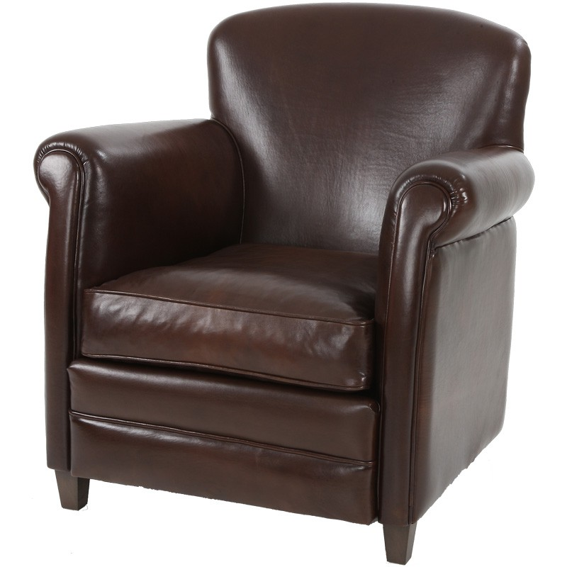 fauteuil club cuir marron fonc suffolk univers du salon. Black Bedroom Furniture Sets. Home Design Ideas