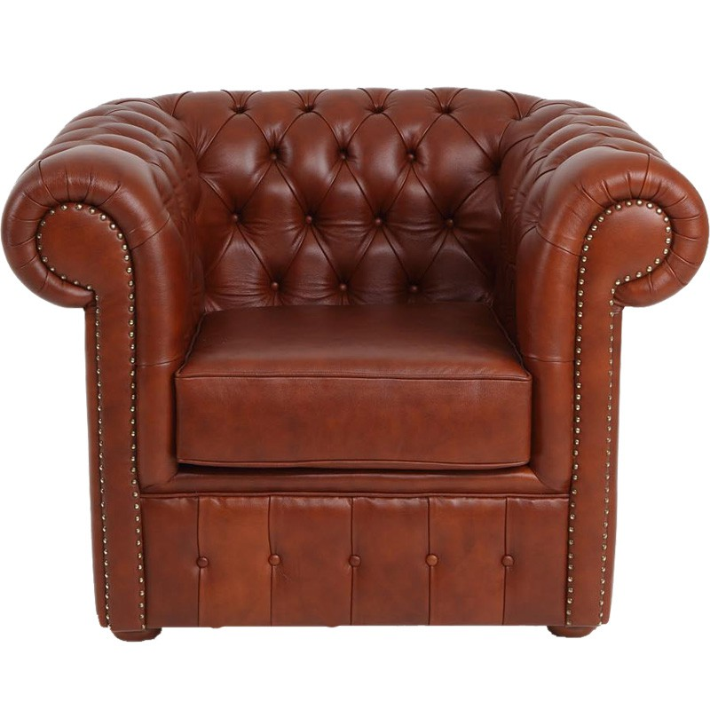 Fauteuil cuir marron chesterfield univers du salon tousmesmeubles - Fauteuil chesterfield cuir marron ...
